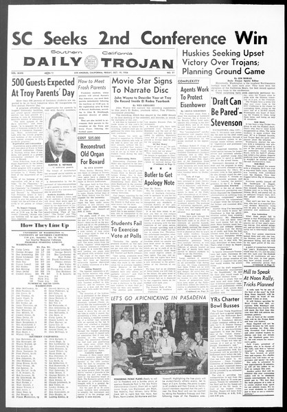 Daily Trojan, Vol. 48, No. 21, October 19, 1956