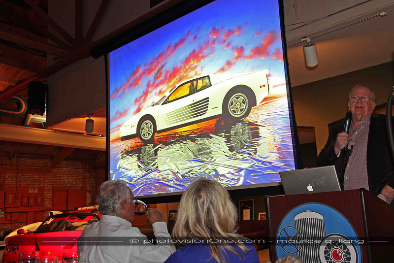 """Ferrari Club """"Ferrari Supercars"""" presentation at the Candy Store, Feb 16, 2013.  Famed automotive photographer Ron Kimball is one of the guest speakers, with his first car photo."""