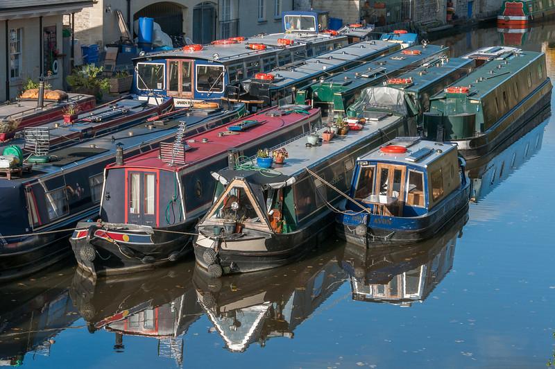 Closer shot of narrow boats in Bath, England