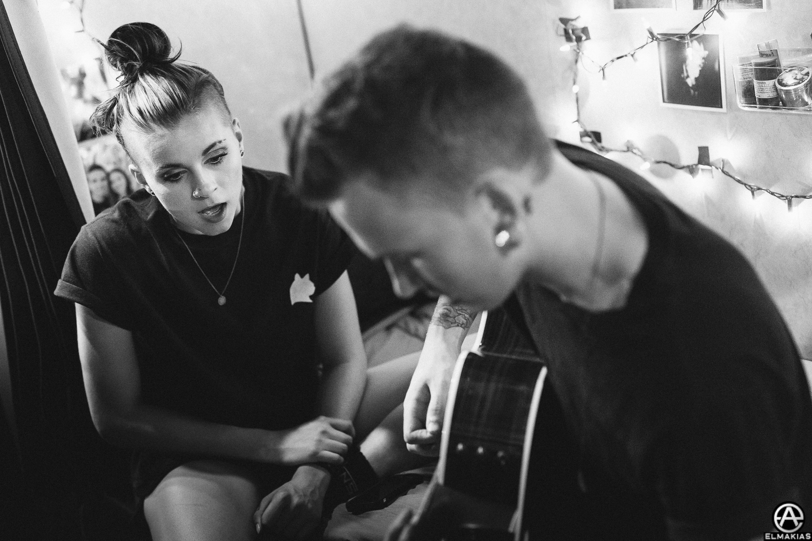 Lynn Gunn and Alex Babinski of PVRIS at Vans Warped Tour 2015 by Adam Elmakias