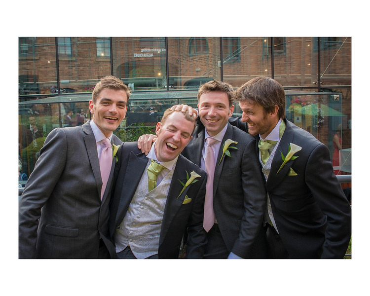 Wedding Photography of Hannah & Edward, Austin Court, Birmingham, England Phography is of the Groom & Groomsmen having fun