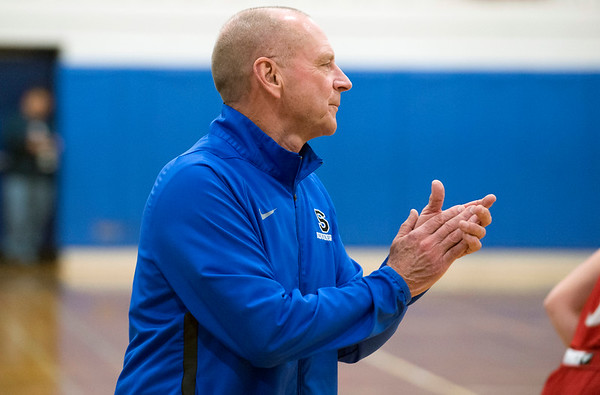 01/06/19 Wesley Bunnell | StaffrrSouthington girls basketball vs Conard on Monday night at Southington High School. Head coach Howard Hewitt applauds his teams defensive effort.