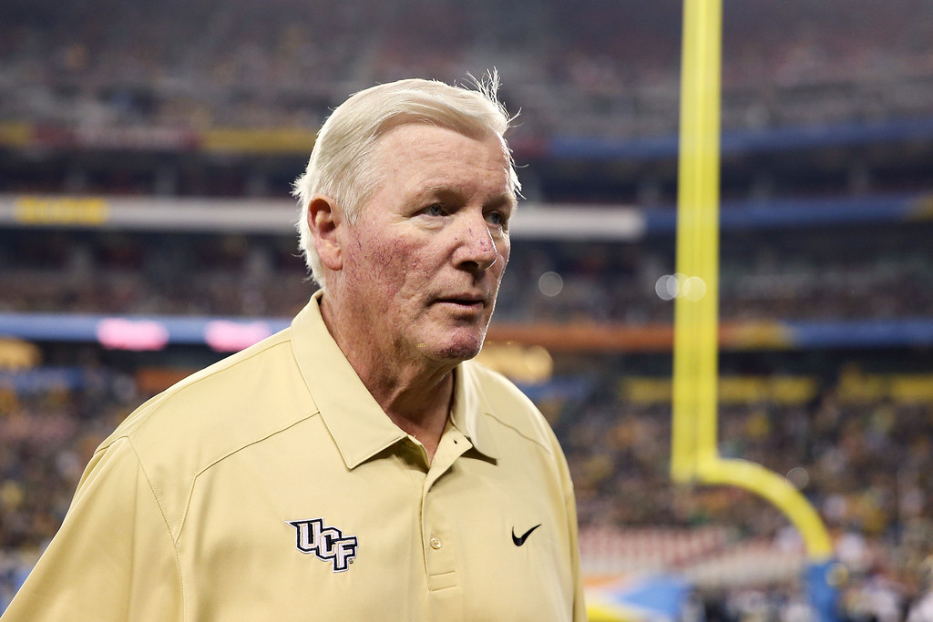 . GLENDALE, AZ - JANUARY 01:  Head coach George O\'Leary of the UCF Knights prepares for their game against the Baylor Bears prior to the Tostitos Fiesta Bowl at University of Phoenix Stadium on January 1, 2014 in Glendale, Arizona.  (Photo by Christian Petersen/Getty Images)