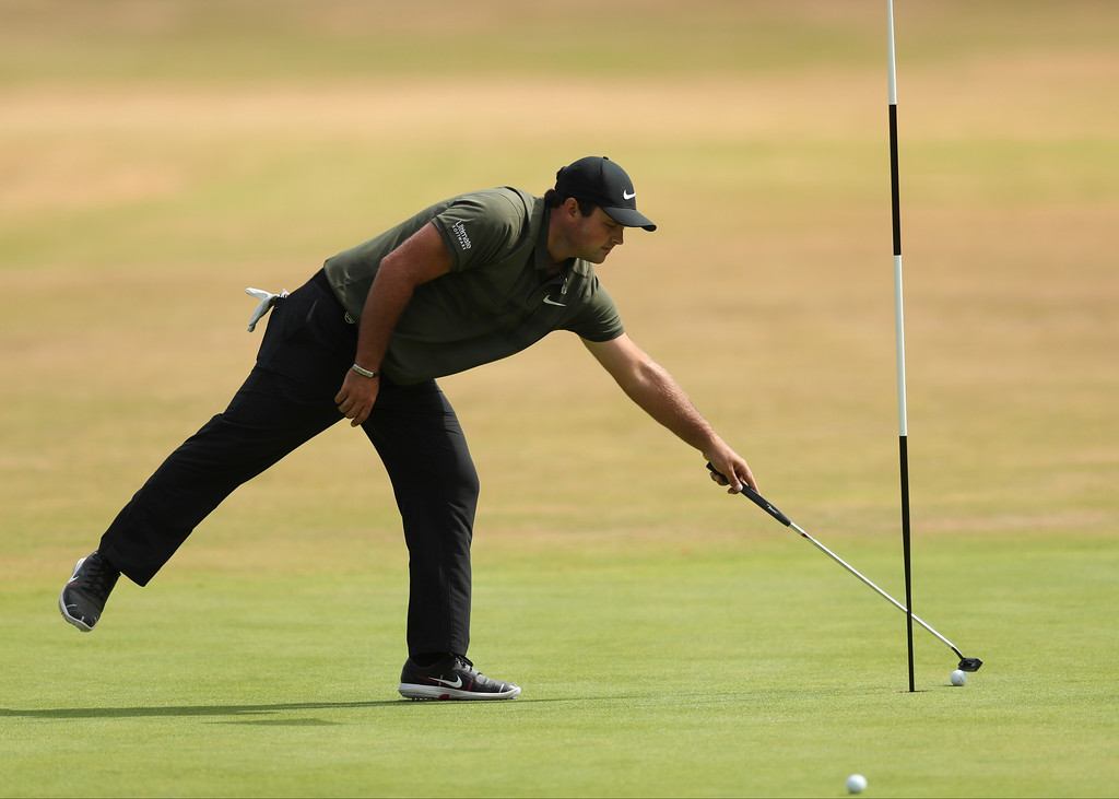 . Patrick Reed of the US prepares to putt on the 9th green during a practice round ahead of the British Open Golf Championship in Carnoustie, Scotland, Wednesday July 18, 2018. (AP Photo/Jon Super)