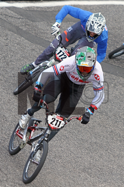 Kyle Evans (211) of Great Britain and Matteo Grazian (172) of Italy race at the UCI BMX Supercross World Cup Round 8 at Rock Hill, S.C., on Saturday, Sept. 14, 2019.