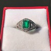 1.29ctw Emerald and Diamond Modified Halo Ring 26