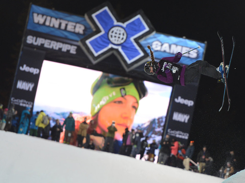 . ASPEN, CO. - JANUARY 25:  Maddie Bowman during the Women\'s Ski SuperPipe Final, January 25, 2013, at the 2013 Winter X Games at Buttermilk Mountain in Aspen.   Maddie Bowman got gold in the event. (Photo By RJ Sangosti / The Denver Post)