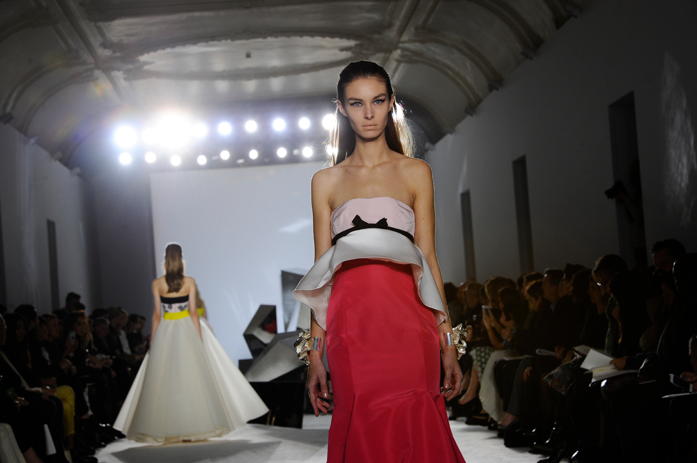 . A model wears a creation from Giambattista Valli\'s Spring-Summer 2014 Haute Couture fashion collection presented in Paris, Monday, Jan. 20, 2014. (AP Photo/Zacharie Scheurer)
