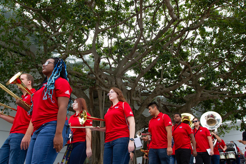 FAU's Parliament Sound Pep Band plays during the parade in front of the Norton Museum of the Arts in West Palm Beach, prior to the grand opening ceremony on Saturday, February 9, 2019. [JOSEPH FORZANO/palmbeachpost.com]