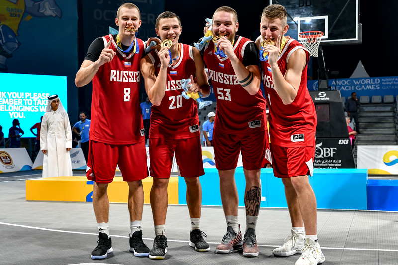 Russia - winners of the International 3x3 Basketball Tournament during the 1st ANOC World Beach Games at Katara on October 16, 2019 in Doha, Qatar. Photo by Tom Kirkwood/SportDXB