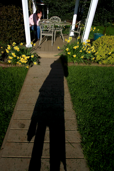 I love this. My shadow leading up to Steve covering his face...NO MORE PHOTOS!!