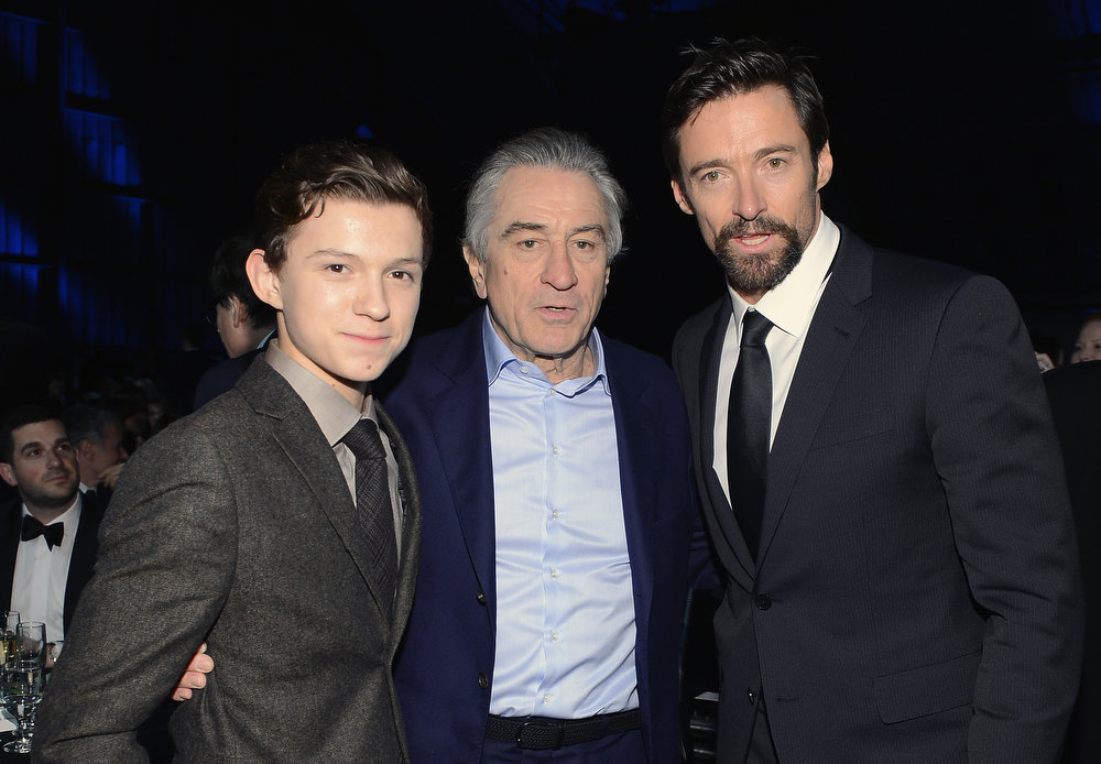 . Actors Tom Holland, Robert De Niro and Hugh Jackman attends the 18th Annual Critics\' Choice Movie Awards held at Barker Hangar on January 10, 2013 in Santa Monica, California.  (Photo by Larry Busacca/Getty Images for BFCA)
