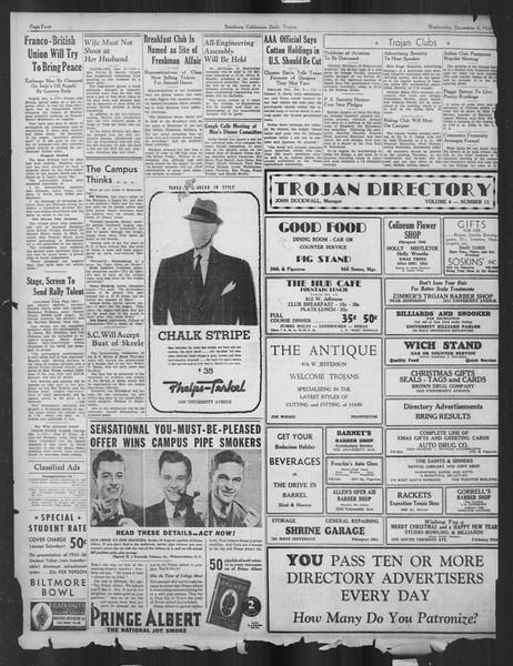 Daily Trojan, Vol. 27, No. 50, December 04, 1935