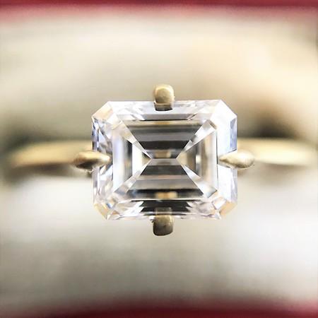 1.08ct Vintage Emerald Cut Diamond Solitaire GIA F VVS1