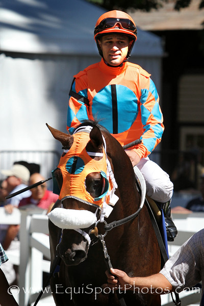 Firespike (Flower Alley) and jockey Javier Castellano win a MSW at Saratoga Racecourse 8/30/14. Trainer: Mike Maker. Owner: Skychai Racing