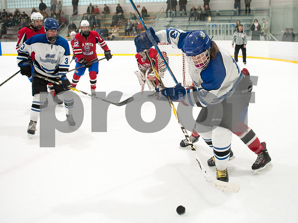 03/01/18 Wesley Bunnell | Staff Hall-Southington defeated EO Smith-Tolland 4-3 in the CCC South semi-final game on Thursday at Veterans Memorial Rink in West Hartford. Nate Zmarlicki (13).