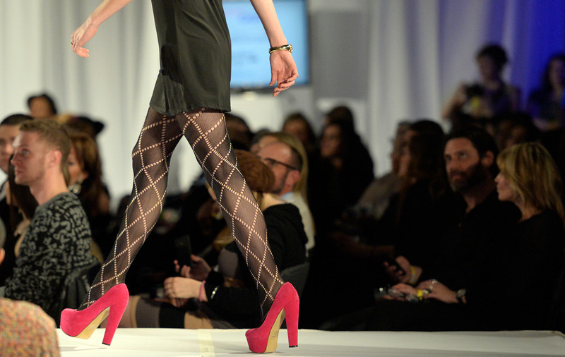 . Pink True Love shoes on the runway at the second annual Westword Whiteout Fashion Show at the McNichols Building in Denver feature Denver designers on Thursday, January 30, 2014.  (Denver Post Photo by Cyrus McCrimmon)