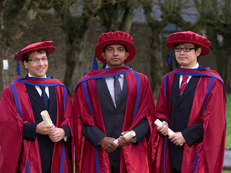 6/1/2012. News. Free to use image. Waterford Institute of Technology (WIT) Graduation. Pictured are Korbinian Frank, Germany, Gajaruban Kandavanam, Canada and Lei Xu, China,  who were conferred a Doctors of Philosophy. Photo Patrick Browne