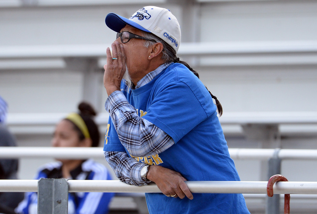 . A Bishop Amat fan yells at the officials in the second half of a CIF-SS second round prep playoff soccer match against Diamond Bar at Diamond Bar High School in Diamond Bar, Calif., on Wednesday, Feb.26, 2014. Diamond Bar won 3-2. (Keith Birmingham Pasadena Star-News)