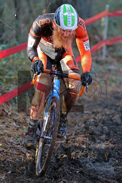 Robert Marion (28) competes in the NC Cyclocross North Carolina Grand Prix at Jackson Park in Hendersonville, N.C., on Nov. 24, 2019