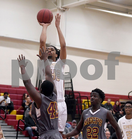 1/13/2018 Mike Orazzi | Staff New Britain's Jahfari Newman (42) against Medgar Evers College Preparatory School at New Britain High School Saturday.