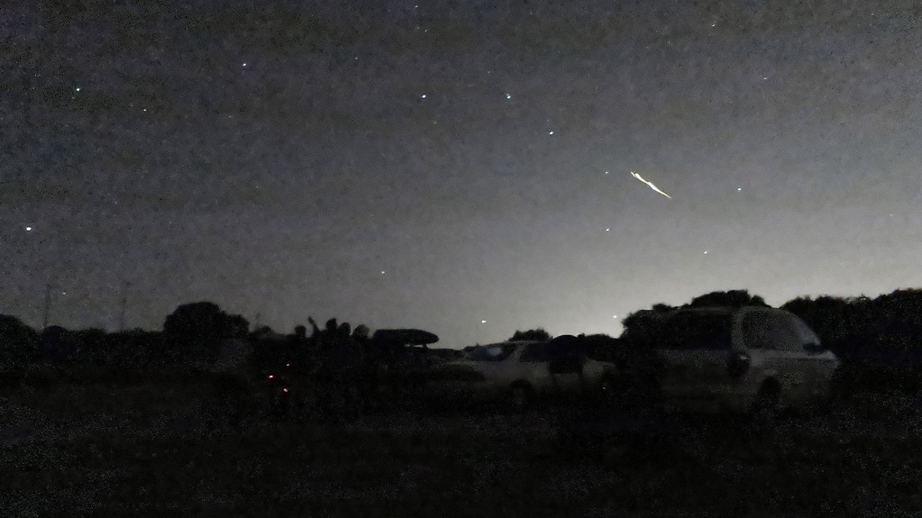 . In this photo taken Oct. 17, 2012 and provided by Phil Terzian is a shooting star above the Montebello Open Space Preserve in Palo Alto, Calif. Streaking fireballs lighting up California skies and stunning stargazers are part of a major meteor shower, and the show is just getting started, professional observers said. (AP Photo/Phil Terzian)