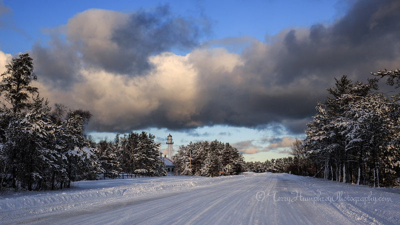 Snowy Road to Whitefish Point