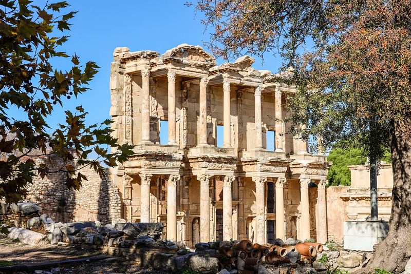 Columned ruins of Library of Celsus