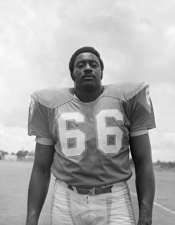 . Miami Dolphins guard Larry Little shown Aug. 9, 1972. (AP Photo)