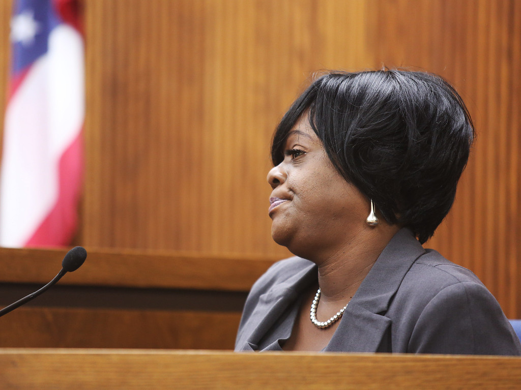 . Michael Allen Blair/MBlair@News-Herald.com Erika Gaiter, former co-worker of Lisa Knoefel testifies during Kevin Knoefel\'s murder conspiracy trial in Lake County Common Pleas Court on  June 3, 2014.