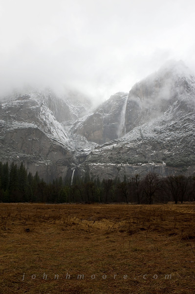 Yosemite Falls in snow and fog