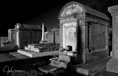 Metairie Cemetery in B&W 2-23-2008