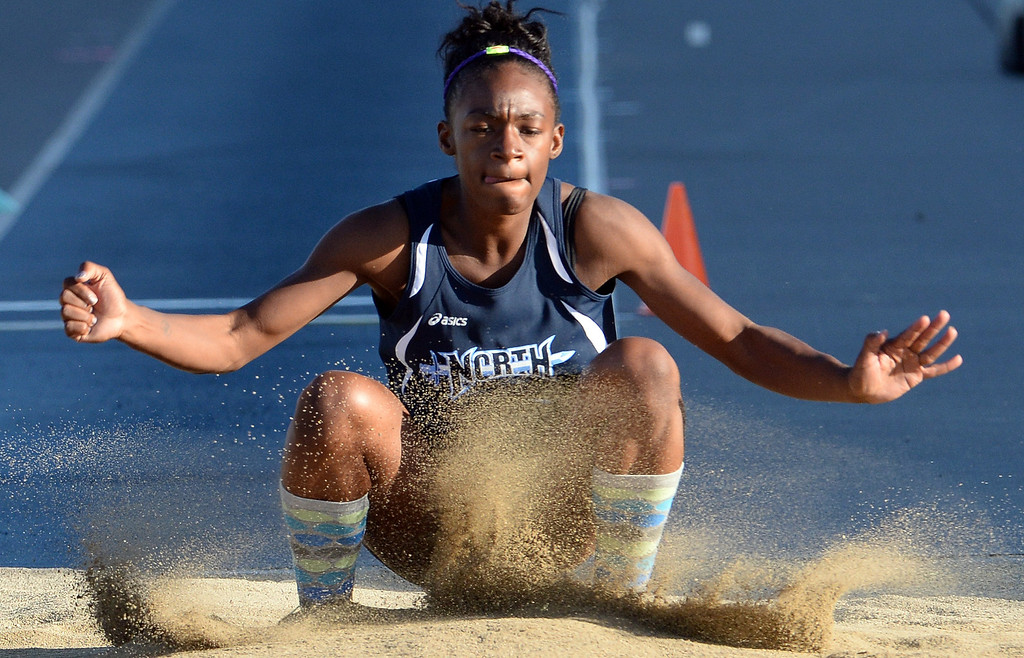 . North Torrance Jasmine Bass competes in the Triple Jump during the CIF-SS Masters Track and Field meet at Falcon Field on the campus of Cerritos College in Norwalk, Calif., on Friday, May 30, 2014.   (Keith Birmingham/Pasadena Star-News)