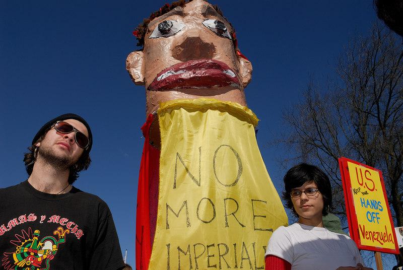 'No More Imperialist Wars'; 'US Keep Your Hands Off Venezuela'