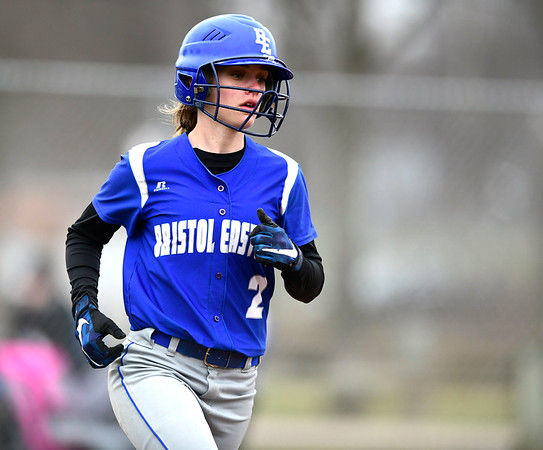 4/9/2019 Mike Orazzi | Staff Bristol Eastern's Paige McLaughlin (2) during Tuesday's softball game in Bristol.