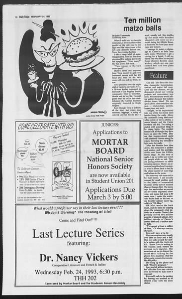 Daily Trojan, Vol. 119, No. 28, February 24, 1993