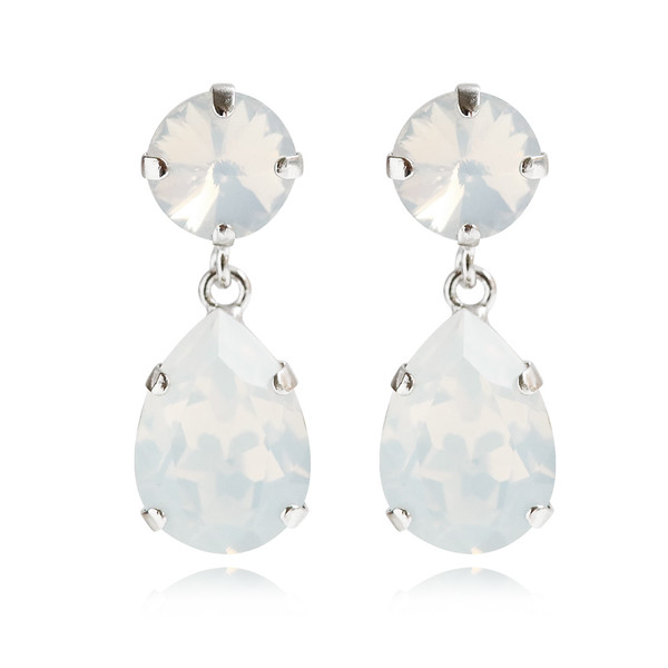 Classic Drop Earrings / White Opal Rhodium