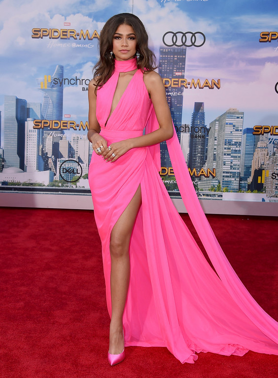 """. Zendaya arrives at the Los Angeles premiere of \""""Spider-Man: Homecoming\"""" at the TCL Chinese Theatre on Wednesday, June 28, 2017. (Photo by Jordan Strauss/Invision/AP)"""