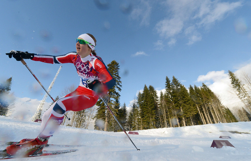 . Silver medalist Norway\'s Ingvild Flugstad Oestberg competes in the Women\'s Cross-Country Skiing Individual Sprint Free Final at the Laura Cross-Country Ski and Biathlon Center during the Sochi Winter Olympics on February 11, 2014 in Rosa Khutor near Sochi. (KIRILL KUDRYAVTSEV/AFP/Getty Images)