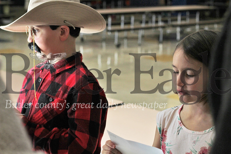 Third Graders Joe Pietropaolo and Emma Grace, pictured here as Teddy and Edith Roosevelt, reciting speeches telling the stories of the historical figures' lives. Photos by Caleb Harshberger