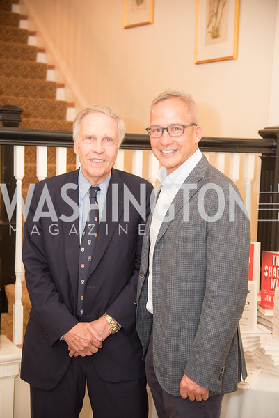 "Amb. Winston Lord, Winston Bao Lord, Book Party with Ambassador Winston Lord, ""Kissinger on Kissinger"", and Jim Sciutto, ""The Shadow War"", at the home of Juleanna Glover and Christopher Reiter.  Summer 2019, Photo by Ben Droz."