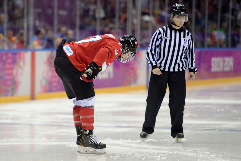 . Tara Wachorn (27) of the Canada reacts to being called for a penalty against the U.S.A. during the third period of the women\'s gold medal ice hockey game. Sochi 2014 Winter Olympics on Thursday, February 20, 2014 at Bolshoy Ice Arena. (Photo by AAron Ontiveroz/ The Denver Post)