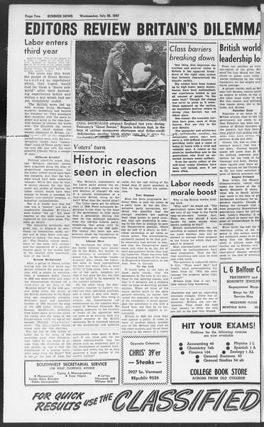 Summer News, Vol. 2, No. 16, July 30, 1947