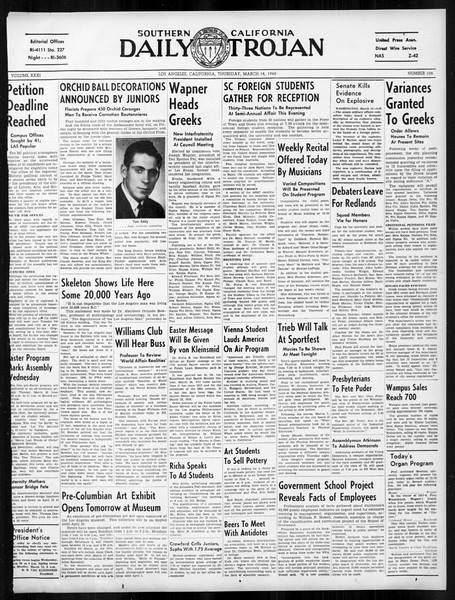 Daily Trojan, Vol. 31, No. 104, March 14, 1940
