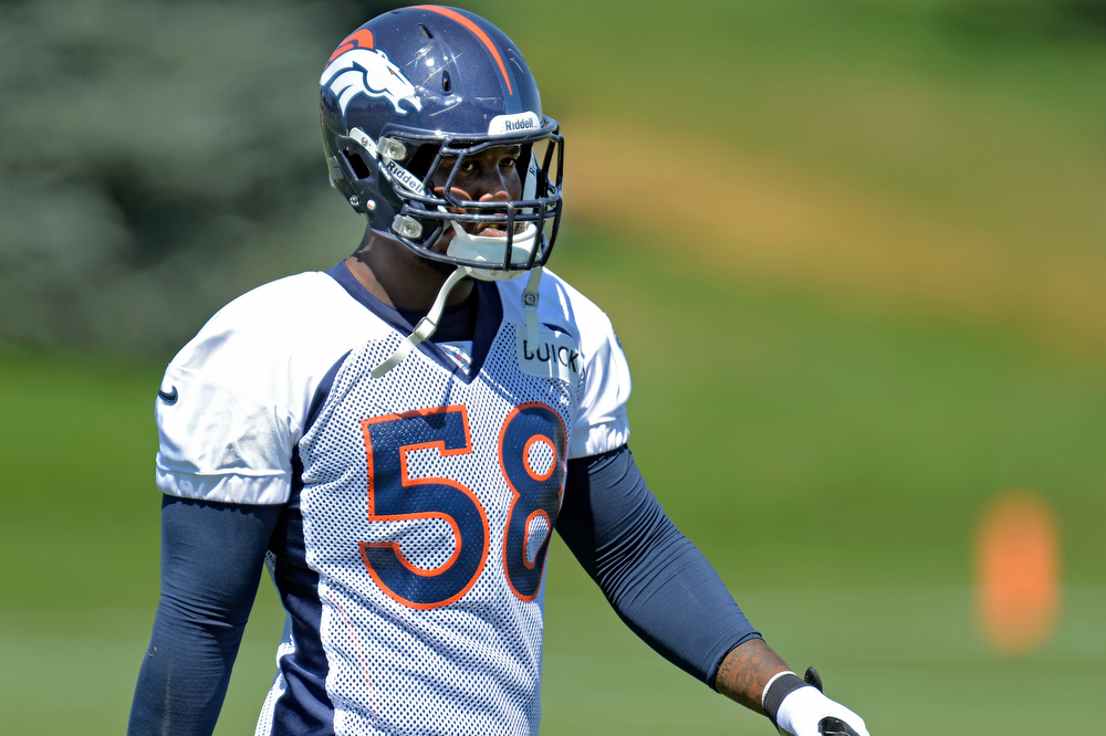 . Denver Broncos outside linebacker Von Miller (58) was at  practice August 19, 2013 at Dove Valley. Von Miller could be suspended for six games instead of the original four-game sentence the league handed him for violating the NFL\'s substance-abuse policy, ESPN reported. (Photo by John Leyba/The Denver Post)