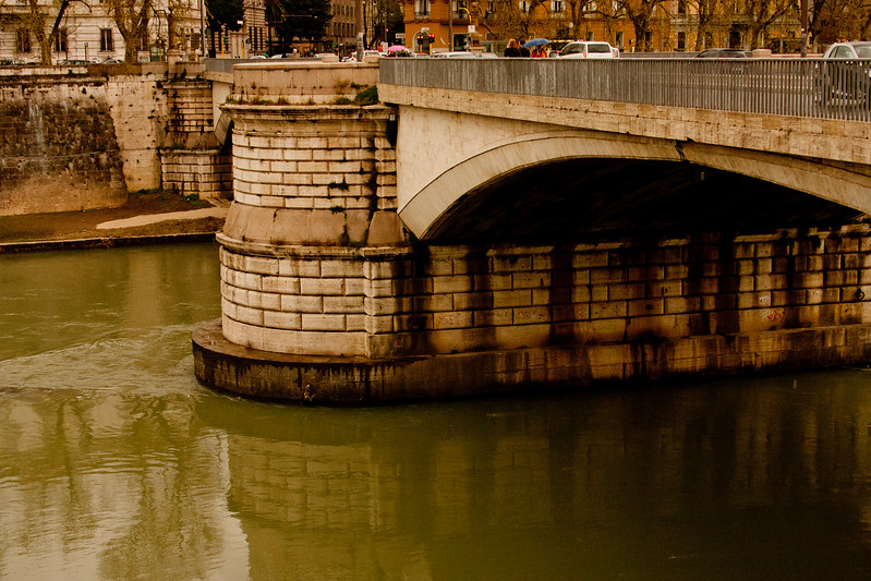 River and Bridge in Rome Italy