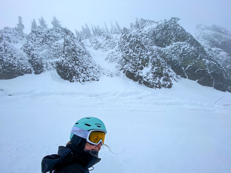 Blowing below Bomber Cliffs on a cold day at Mission Ridge.