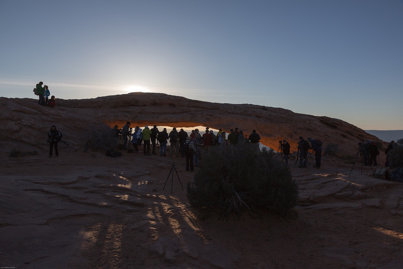 There was a huge mob of photographers for sunrise at Mesa Arch