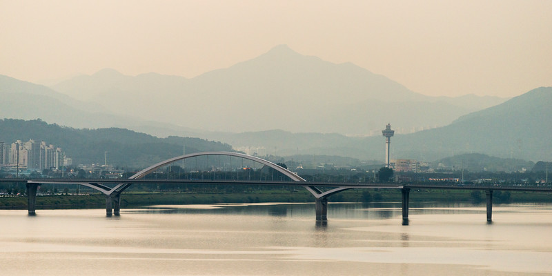 Bridge across river with tower in the background, Seoul, South Korea