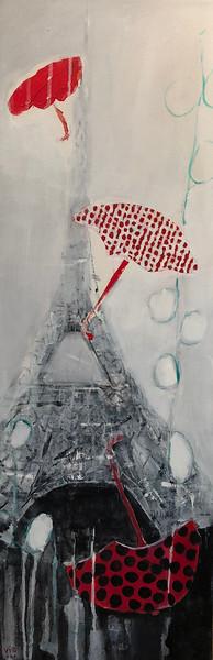 Les parapluies de la Tour Eiffel 12 X 36 acrylic mixed media